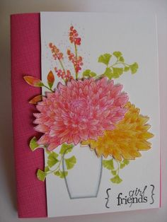 PTI May Blog Hop | Flickr - All PTI except sentiment is Studio G. Chrysanthemums colored w pencils.