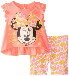 Disney Baby Girls' Minnie Mouse Bike Short Set >>> Don't get left behind, see this great product : Baby clothes Disney Outfits Girls, Disney Baby Clothes, Princess Outfits, Cute Baby Clothes, Disney Girls, Baby Disney, Girl Outfits, Baby Girl Newborn, Baby Girls