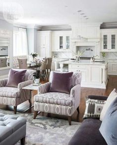 Style at home: white, purple, and light grey open concept kitchen/living room Style At Home, Open Concept Kitchen, Kitchen Layout, Open Kitchen, Kitchen Ideas, Kitchen Floor, Kitchen Island, Kitchen Cabinets, Cozy Kitchen