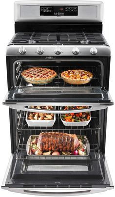 Maytag 30 Inch Freestanding Double-Oven Gas Range with 5 Sealed Burners, cu. EvenAir Convection Lower Oven, Self-Cleaning, Speed Heat Burner and cu. Gas Oven, Stove Oven, Double Oven Range, Double Ovens, New Stove, Small Oven, Appliance Repair, Small Kitchen Appliances, Kitchen Ideas