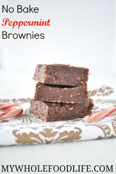 No Bake Peppermint Brownies.  A healthy, last minute holiday dessert idea.  Make it in 10 minutes.  Vegan, gluten free and paleo.