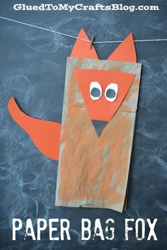 Paper Bag Fox - Super EASY Kid Craft Idea To Tackle Today! - - What does the fox say? Fortunately with this Paper Bag Fox Kid Craft, you can easily turn it into a puppet and really make it talk! Dr Seuss Crafts, Fox Crafts, Puppet Crafts, Easy Crafts For Kids, Toddler Crafts, Summer Crafts, Art For Kids, Kid Art, Origami Fashion