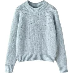 Choies Blue Long Sleeve Beaded Knitted Sweater (€40) ❤ liked on Polyvore featuring tops, sweaters, blue, blue sweater, beaded sweaters, beaded top, blue long sleeve top and long sleeve sweaters