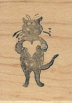 Edward Gorey Kidstamps Heart Cat rubber stamp