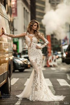 berta fall 2017 bridal long sleeves illusion jewel neckline full embellishment lace elegant sexy fit and flare wedding dress low back chapel train (010) mv
