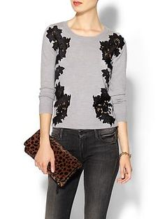 DvF Doreen Sweater $285 look for less CAbi Applique cardigan $118