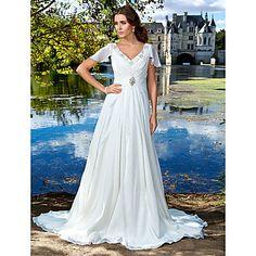 Sheath/Column V-neck Court Train Chiffon Wedding Dress – GBP £ 97.39