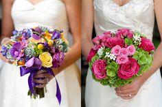bukiet ślubny: od lewej - eszeweria, storczyk Phalenopsis, róża, gorszek ozdobny, kraspedia, jaskier, ostróżka, chryzantema santini, krokosmia od prawej - róża, hortensja, bouvardia