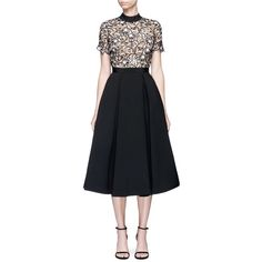 13f14ab1942a Self-Portrait 'Nightshade' floral guipure lace crepe dress ($450) ❤ liked