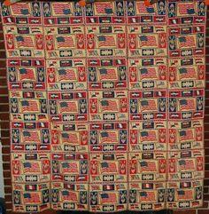 VIBRANT 1920's Vintage Tobacco Felt American Flag Patriotic Antique Quilt Top!   eBay Old Quilts, Antique Quilts, Vintage Quilts, American Flag Quilt, Warm Bed, Patriotic Quilts, God Bless America, Quilt Top, Flags