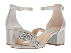 24 Wedding Sandals You Can Definitely Wear Again - pair of silver low-heel sandals with ankle straps and beaded toe strap - Blue by Betsey Johnson Mel sandal in silver satin, $99, Zappos