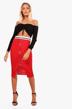 Raya Sports Waistband Zip Front Rib Midi Skirt