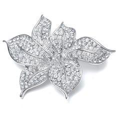 """Inspiration"" Rhinestone Flower Leaf Broach http://www.bridaljewelryboutique.com/bridal_broaches_inspiration.htm#"