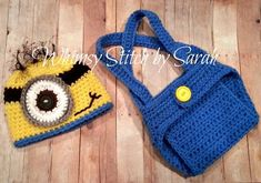 free crochet pattern for minion overalls photo prop | Minion Outfit -- Photo Prop Set -- Hat Diaper Cover Overall Suspenders ...