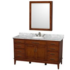 Have to have it. Wyndham Collection WCV161660SCL Hatton 60-in. Single Bathroom Vanity Set with Medicine Cabinet - Light Chestnut - $1399 @hayneedle
