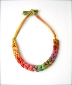 Ombre Rainbow Statement Necklace - choker recycled fabric jewelry. $14.00, via Etsy.