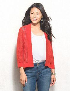 JONES STUDIO® Crochet Open Cardigan