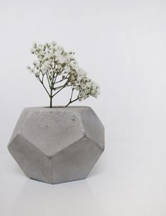 Concrete Geometric Minimalist Vase  FrauKlarer