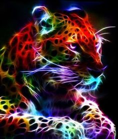 Another fractal! gotta love them big cats. Again i would like to dedicate this fractal to a close friend. Love you babe Fractal Leopard 2 Big Cats Art, Cat Art, Art Tigre, Tiger Pictures, Tiger Art, Lion Art, Colorful Animals, Colourful Art, Modern Cross Stitch Patterns