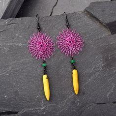 Spike Earrings  Colorful Hot pink Boho Earrings by StudioDjewelry, $60.00