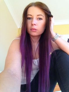 brown and purple ombre hairacid dreams---sugar highs purple dip dye ombre hair Red Ombre Hair, Purple Ombre, Purple Hair, Purple Highlights, Hair Highlights, Hair Color Dark, Blonde Color, Trendy Hairstyles, Straight Hairstyles