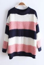 Navy White Pink Striped Long Sleeve Pullovers Sweater $33.44  #SheInside #hipster #love #cute #fashion #style #vintage #repin #follow