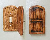 Handmade Wooden Rustic Fairy Door Switchplate/Outlet Cover - Unique Novelty Home Decor, Secret Door, Distressed Home Accents by on Etsy Handmade Home Decor, Unique Home Decor, Handmade Wooden, Diy Home Decor, Rustic Doors, Wood Doors, Pine Doors, Switch Plate Covers, Light Switch Covers