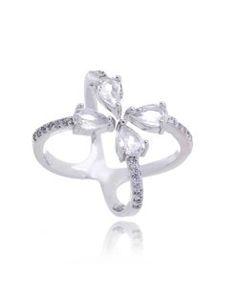 anel de gotas flutuante zirconias prata semijoias