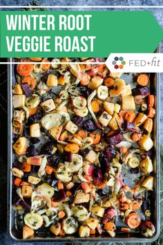 This winter root veggie roast combines carrots parsnips beets fennel and more until crisp with a flavorful lemon-parsley vinaigrette. It is the perfect way to enjoy the season's bounty of root vegetables! Paleo Side Dishes, Veggie Side Dishes, Side Dish Recipes, Gluten Free Recipes For Dinner, Paleo Dinner, Clean Eating Meal Plan, Clean Eating Recipes, Roasted Beets And Carrots, Fed And Fit