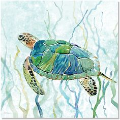 Bring the beach to your bedroom wall with this Palm Island Home artwork. This wall art features a colorful, tropical sea turtle painting. Measures 12''L...