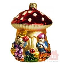 Mushroom House with Gnomes Christmas Ornament