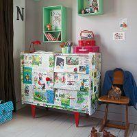 Un meuble recouvert d'images pour enfant // a piece of furniture with children images Funky Furniture, Repurposed Furniture, Kids Furniture, Painted Furniture, Casa Kids, Superhero Room, Wall Boxes, Modern Kids, Vintage Children's Books