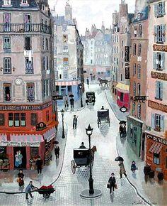 Naive Painting by Michel Delacroix, French Artist Art Nouveau Arquitectura, Maurice Utrillo, Illustrations, Illustration Art, Art Aquarelle, Georges Seurat, Wow Art, Naive Art, French Artists