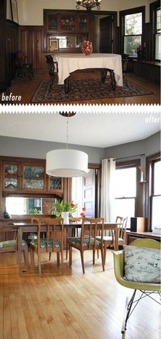 Ideas to update dark wood trim with the best paint colours including gray, blue, green, cream and white