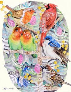 ooakBirds in the Tree Original Art 10x8 by asho on Etsy, $20.00