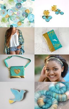 Turquoise and Gold by Tatin on Etsy--Pinned with TreasuryPin.com