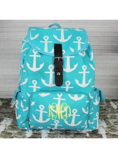 Aqua With White Anchors Large Backpack