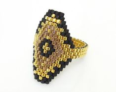 Beaded ring Peyote ring Black and Gold Ring Hexagon Ring Luxe OOAK Ring by JeannieRichard Black Rings, Gold Rings, Beaded Rings, Beaded Bracelets, Seed Bead Projects, Beading Projects, Beaded Jewelry Designs, Beaded Crafts, Bracelets