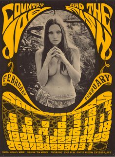 Country Joe and the Fish February 1967 ( psychedelic  rock poster art  / 60's music poster)