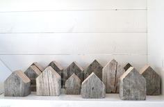 Wooden Houses (Try a DIY for the mantle... paint/stain one red)
