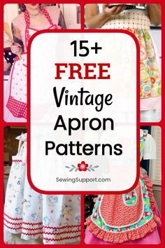 Vintage Aprons to sew. 19 free vintage apron patterns, diy projects, and sewing tutorials. Full and half styles to sew, fun ruffled apron styles with and without pockets. Source by sewingsupport Ideas vintage Apron Pattern Free, Vintage Apron Pattern, Aprons Vintage, Sewing Patterns Free, Free Sewing, Vintage Sewing, Pattern Sewing, Retro Apron Patterns, Sewing Hacks