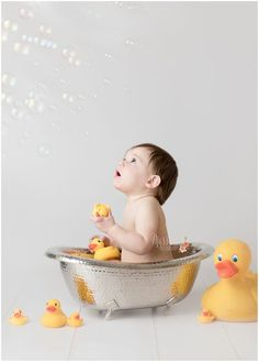 One year session; first birthday cake smash and vintage bath with bubbles and rubber duckies   Photo by Massart Photography, RI MA CT www.massartphotography.com; info@massartphotography.com