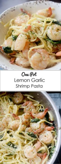One Pot Lemon Garlic Shrimp Pasta