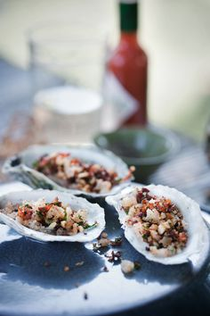 Oysters with Pancetta & Pine Nuts via Sweet Paul