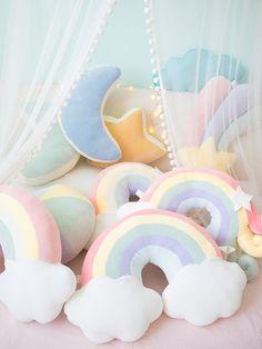 candy color cloud star moon rainbow pillow round shape stuffed soft ball pillow cushion home sofa decor pillow gift for friend Cute Pillows, Baby Pillows, Colorful Pillows, Throw Pillows, Kids Pillows, Sew Pillows, Pillow For Baby, Plush Pillow, Nursery Patterns