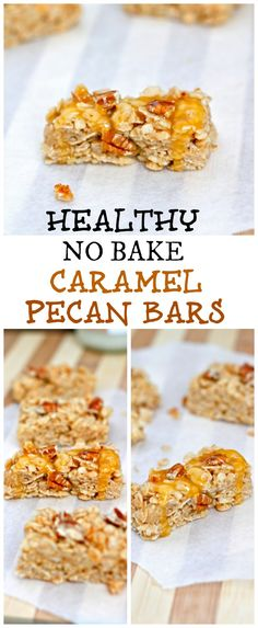 Healthy No Bake Caramel Pecan Granola bars- made from wholesome ingredients with a protein option, these no bake bars are a breeze to make and delicious! Healthy Baking, Healthy Desserts, Raw Food Recipes, Baking Recipes, Dessert Recipes, Health Recipes, Vegan Food, Healthy Food, No Bake Granola Bars