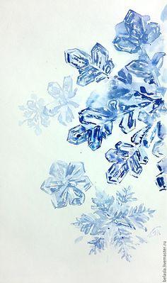 Купить или заказать Снежинки, акварель в интернет магазине на Ярмарке Мастеров. С доставкой по России и СНГ. Материалы: акварельная бумага, акварельные краски. Размер: 40х25