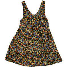 90s grunge black floral print pinafore/jumper dress sz m