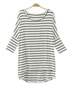 e30cac7b1ede Round Neck Batwing Sleeve Striped Irregular Hem T Shirt (White) Types Of  Fashion Styles