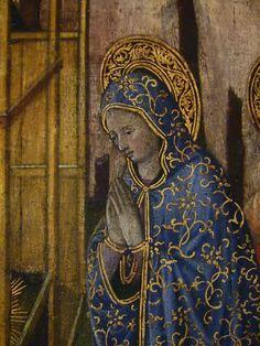 """GIOVANNI FRANCESCO DA RIMINI (Attribué),1440-50 - Vie de la Vierge, La Nativité (Louvre) - Detail 05  -  TAGS/ details détail détails painting paintings peintures """"peinture 15e"""" """"15th-century paintings"""" """"Moyen Âge"""" """"Middle age"""" Museum Paris France Italie Italy Italia Bible prière prayer Bless sacred holy blessed Virgin Jésus Jesus kid family famille """"St Joseph"""" """"da Rimini"""" baby bébé """"Italian paintings"""" """"peinture italienne"""" Rimini bois wood crèche étable """"Rois Mages"""" ox donkey âne nativity…"""